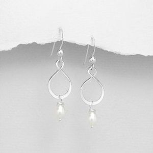 455040337 Jewelry - Sterling Silver Infinity Earrings with Pearls